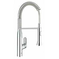 GROHE K7 Semi-Pro Medium Single-Handle Pull-Out Sprayer Kitchen Faucet in StarLight Chrome Finish