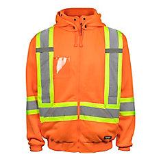 Veste Polaire Haute Visibilité avec Capuchon Amovible et Bande Réflec (Orange) XL