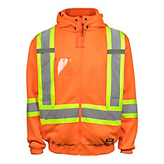 Hi-Vis Fleeced Hoodie with RMV Hood Rflt Band & YKK Zipper (Orange) SZ S