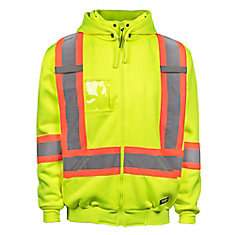 Hi-Vis Fleeced Hoodie with RMV Hood Rflt Band  (Yellow) SZ 3XL