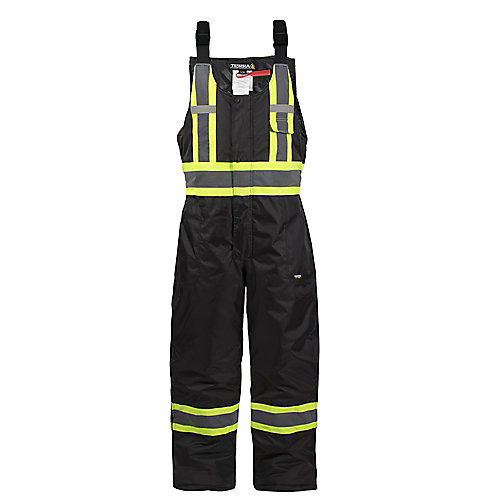 Hi-Vis Lined Safety Overall Bib with Rflt Band (Black) SZ L