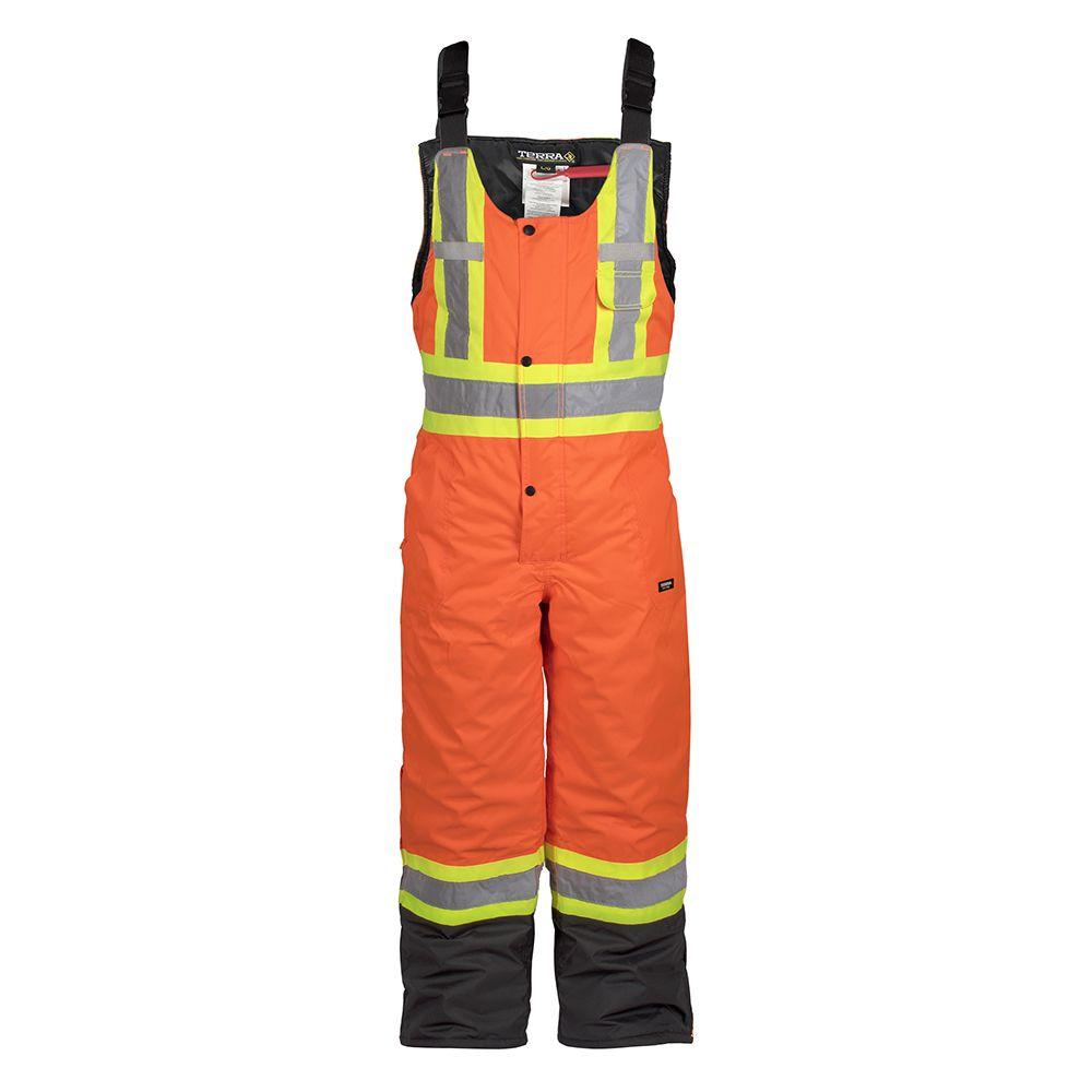 Terra Hi-Vis Lined Safety Overall Bib with Rflt Band (Orange) SZ 2XL