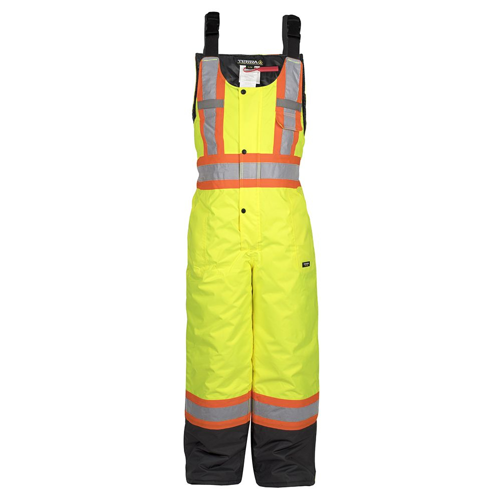 Terra Hi-Vis Lined Safety Overall Bib with Rflt Band (Yellow) SZ M