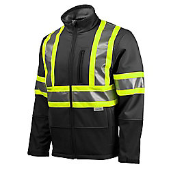 Terra Hi-Vis Softshell Jacket with YKK Zipper (Black) SZ XL
