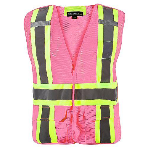 Terra Hi-Vis 5-Point Tear Away Vest (Pink) SZ L/XL