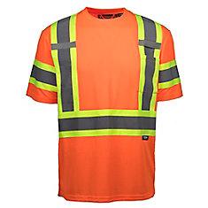 Chandail à Manche Courte Haute Visibilité avec Bande Réflec (Orange) S