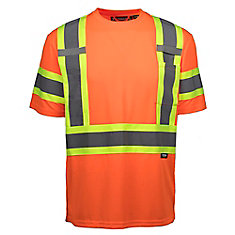 Chandail à Manche Courte Haute Visibilité avec Bande Réflec (Orange) XL