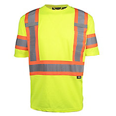 Hi-Vis Short Sleeve T-Shirt with Rflt Band (Yellow) SZ 2XL