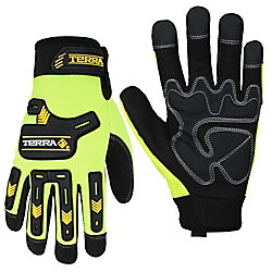 Terra Hi-Vis Mechanics Gloves with Synthetic Leather SZ M