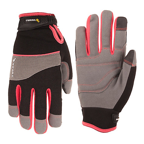 Womens Mechanics Gloves with Synthetic Leather (Blk/Pink) SZ S