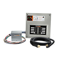 50 Amp Indoor Transfer Switch Kit for 10-16 circ, alum PIB + conduit, 30 Amp plug