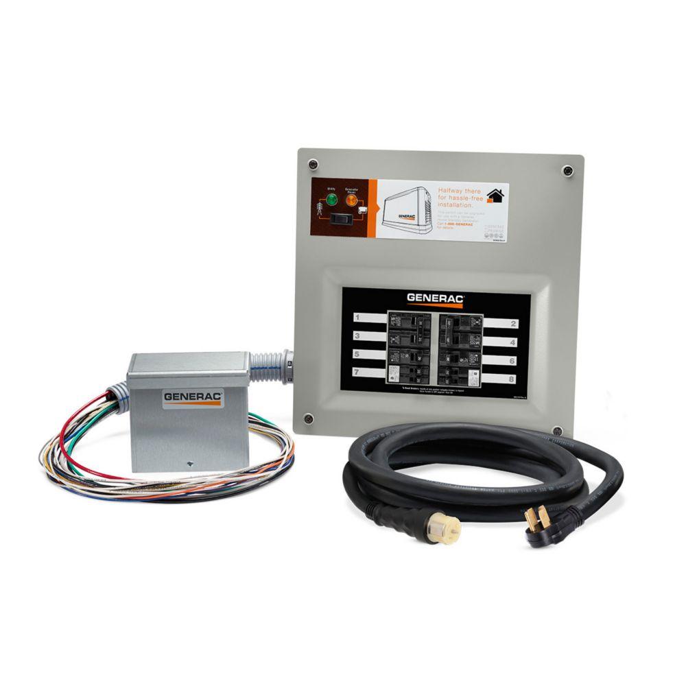 Generac 50 Amp Indoor Transfer Switch Kit for 10-16 circ, alum PIB + conduit, 30 Amp plug