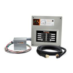 Generac 50 Amp Indoor Transfer Switch Kit for 10-16 circ, alum PIB + conduit, 30 Amp plug