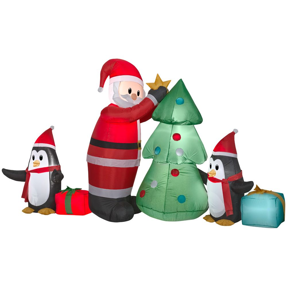 GEMMY Medium Airblown Santa with Penguins Collection Scene
