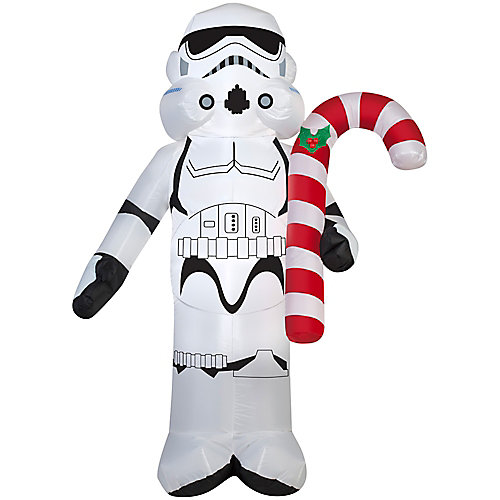 Small Airblown Stormtrooper Holding Candy Cane