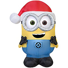 Small Airblown Minion Bob in Santa Hat