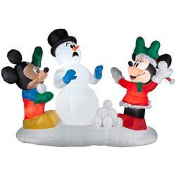 Disney Large LED-Lit Airblown Mickey Snowball Fight Scene