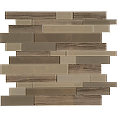 Brown glass marble mosaic 10.8 X 11.6 Single Sheet Peel and Stick