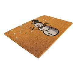 Home Decorators Collection Paillasson en fibre de coco, 18 po x 30 po, bonhomme de neige, blanc