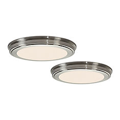 13-inch 180W Equivalent Brushed Nickel Integrated LED Flushmount Light (2-Pack)