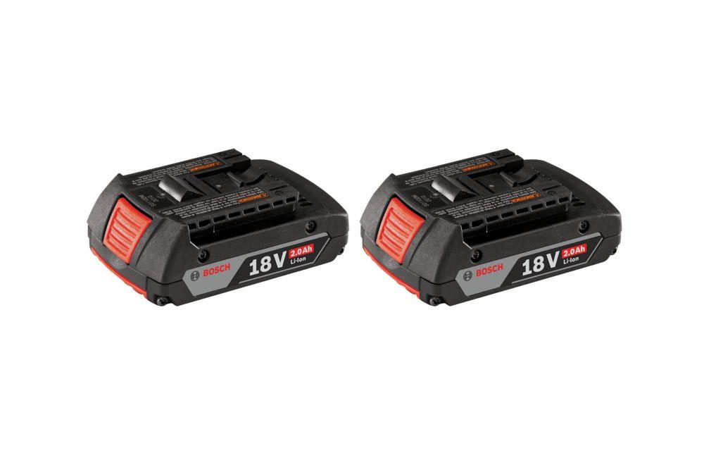 Bosch 18-Volt Lithium-Ion 2.0Ah SlimPack Batteries (2-Pack)