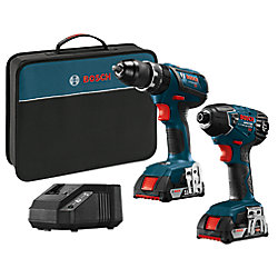 Bosch 18-Volt 2-Tool Combo Kit with 1/2 inch Hammer Drill/Driver and 1/4 inch Hex Impact Driver