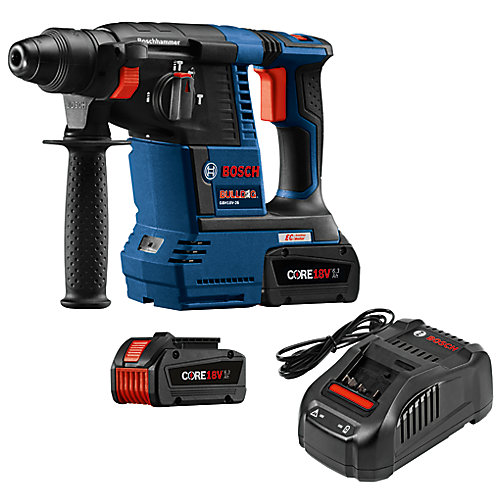 18-Volt EC Brushless 1-inch SDS-plus Bulldog Rotary Hammer Kit with (2) CORE18V 6.3 Ah Batteries
