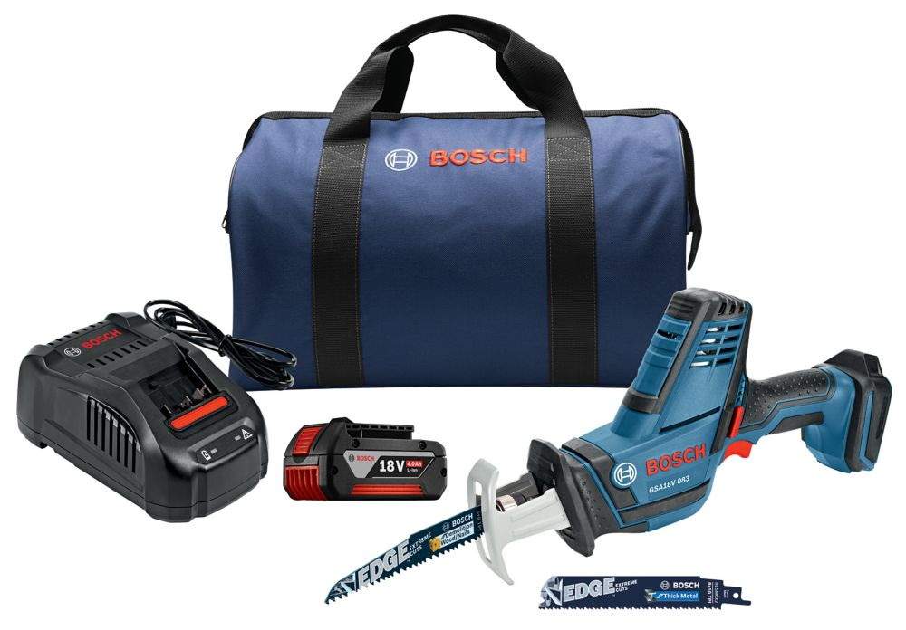 Bosch 18-Volt Cordless Variable Speed Compact Reciprocating Saw Kit with 4.0Ah FatPack Battery