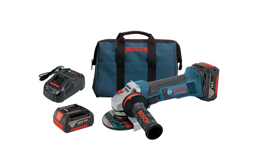 Bosch 18-Volt 4-1/2 inch Angle Grinder with (2) FatPack Batteries (4.0Ah) and Lock-On Side Switch