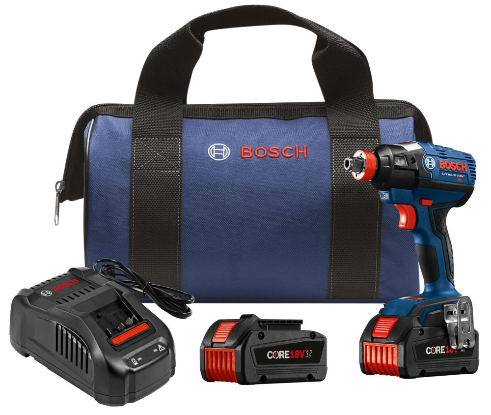 Bosch 18-Volt EC Brushless 1/4 inch and 1/2 inch Socket-Ready Impact Driver Kit with (2) CORE18V Batteries