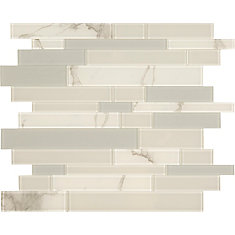 White and Grey Glass marble mosaic 10.8 X 11.6 Peel and Stick