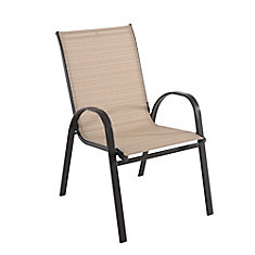 Mix & Match Sling Patio Dining Stack Chair - Café