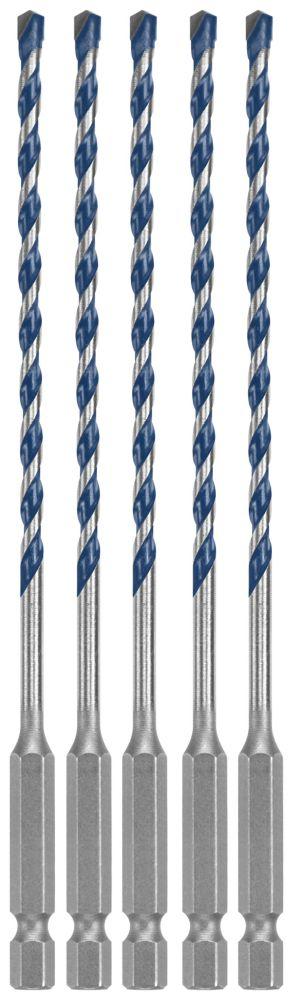 5 pc. 5/32 inch x 6 inch BlueGranite Turbo Carbide Hammer Drill Bits