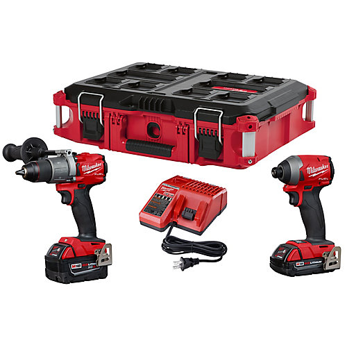 M18 FUEL 18V Lithium-Ion Brushless Cordless Hammer Drill & Impact Driver Combo Kit w/ PACKOUT Case