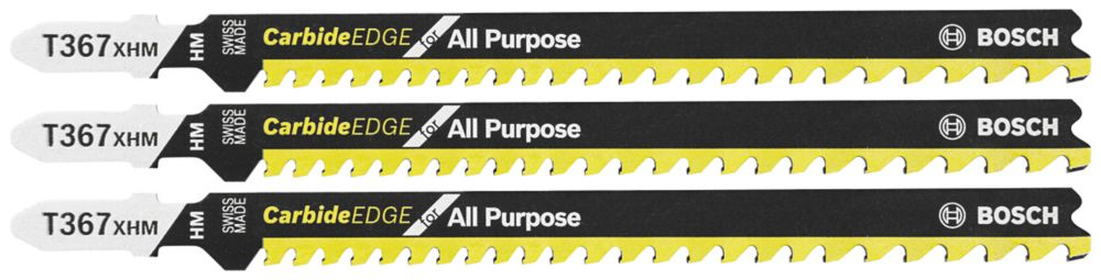Bosch 3 pc. 5-1/4 inch. 5-7 TPI Carbide Edge for All-Purpose T-Shank Jig Saw Blades