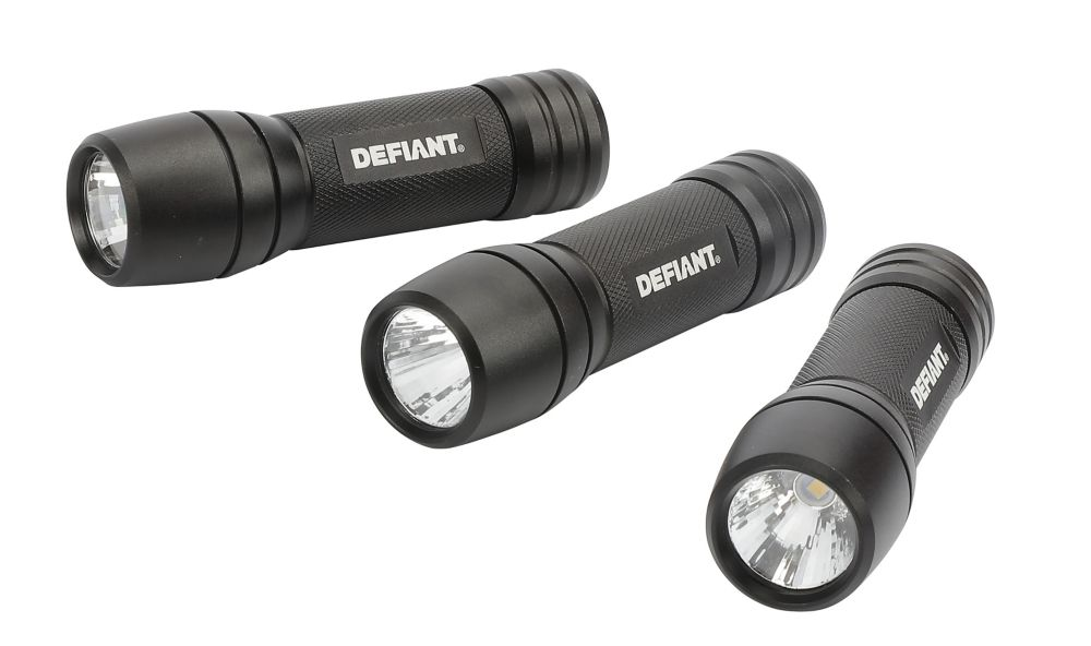 Defiant 100-Lumen AAA LED Flashlight in Black (3-Pack)