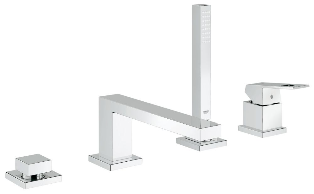 GROHE Eurocube Single-Handle Deck-Mount Roman Tub Faucet with Personal Hand Shower in StarLight Chrome