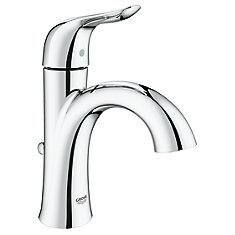 Robinet de salle de bain monotrou Agira avec système SilkMove - renvoi en métal, chrome