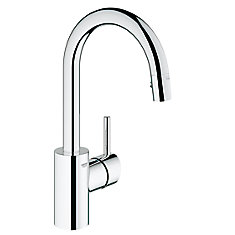 Concetto Prep Sink Pull-Down Sprayer Kitchen Faucet with Dual Spray in SuperSteel InfinityFinish