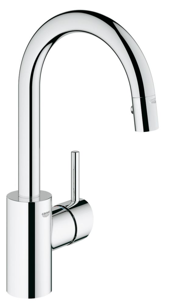 GROHE Concetto Prep Sink Pull-Down Sprayer Kitchen Faucet with Dual Spray in SuperSteel InfinityFinish