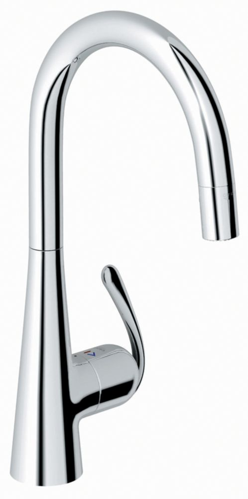 GROHE Ladylux³ Pro Main Sink Single-Handle Pull-Down Sprayer Kitchen Faucet in Starlight Chrome
