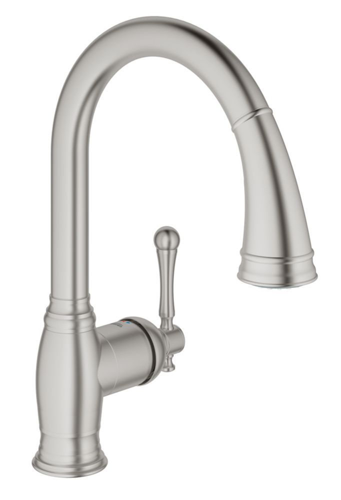 GROHE Bridgeford Single-Handle Pull-Down Sprayer Kitchen Faucet in SuperSteel InfinityFinish