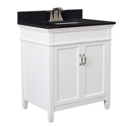Foremost Ashburn 30 inch Vanity Combo in White with Tempest Black Marble Top