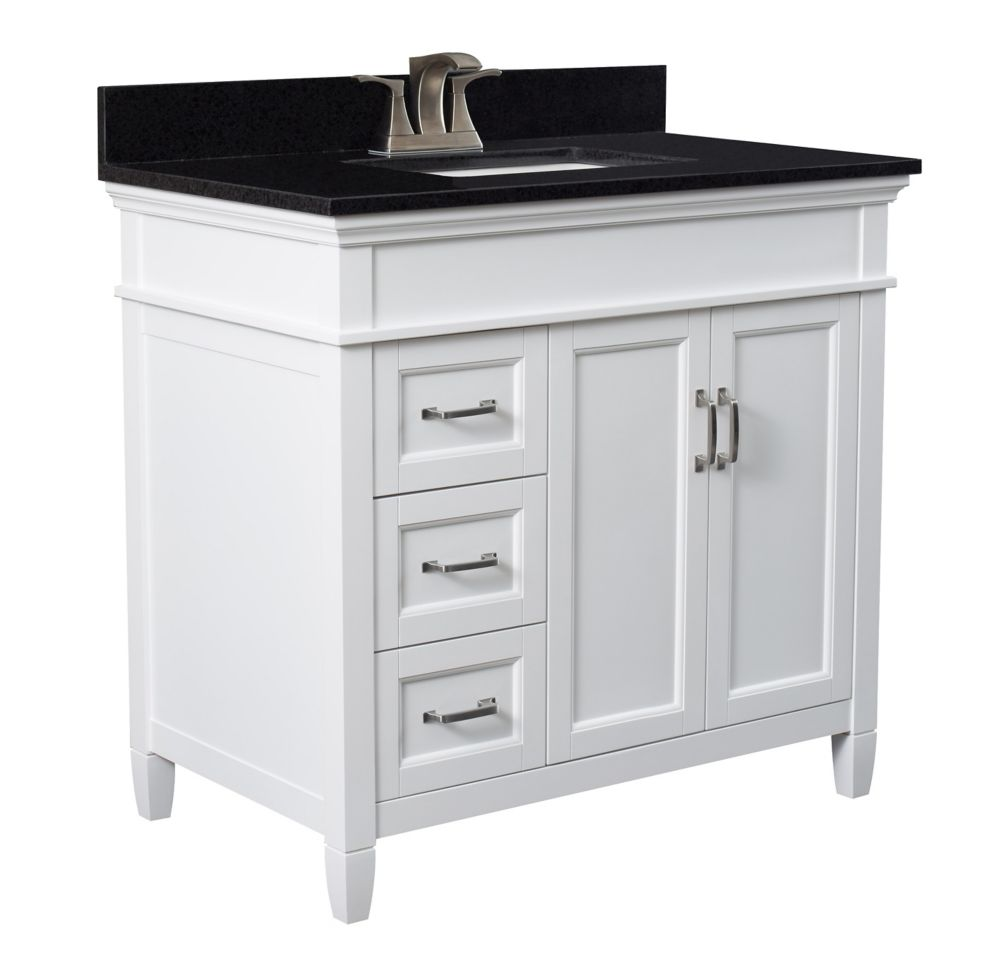 Foremost Ashburn 36 inch Vanity Combo in White with Tempest Black Marble Top
