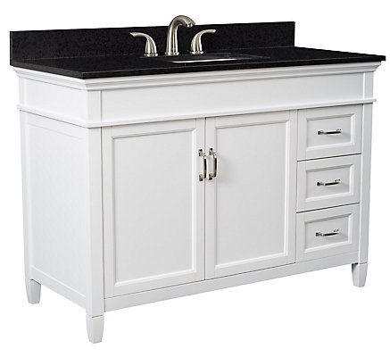 Foremost Ashburn 48 Inch Vanity Combo In White With Tempest Black Marble Top The Home Depot Canada