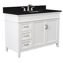 Foremost Ashburn 48 inch Vanity Combo in White with Tempest Black Marble Top