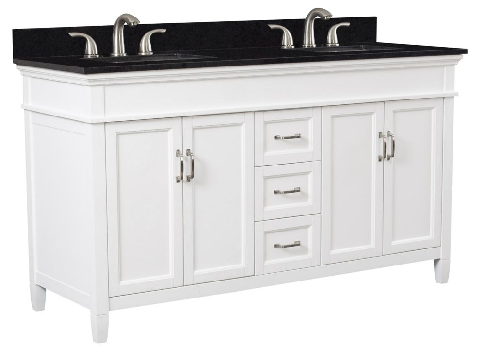 Foremost Ashburn 60 inch Vanity Combo in White with Tempest Black Marble Top