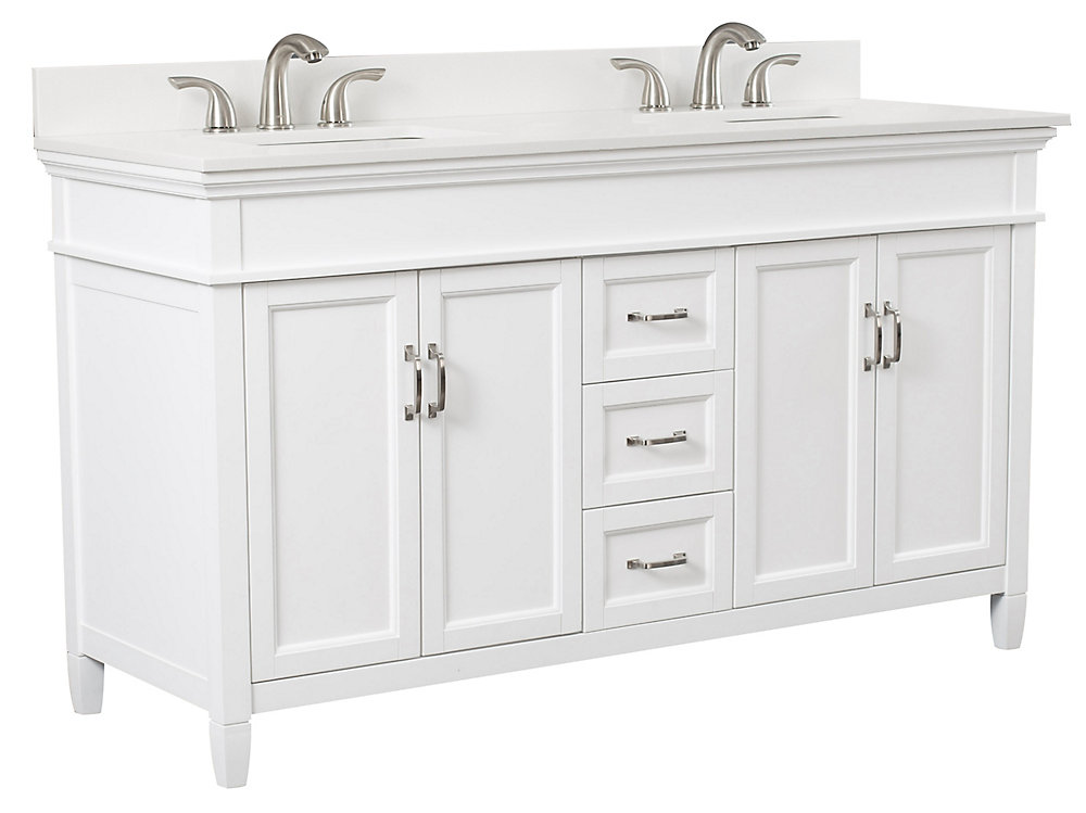 Ashburn 60 inch Vanity Combo in White with Lily White Engineered Stone Top