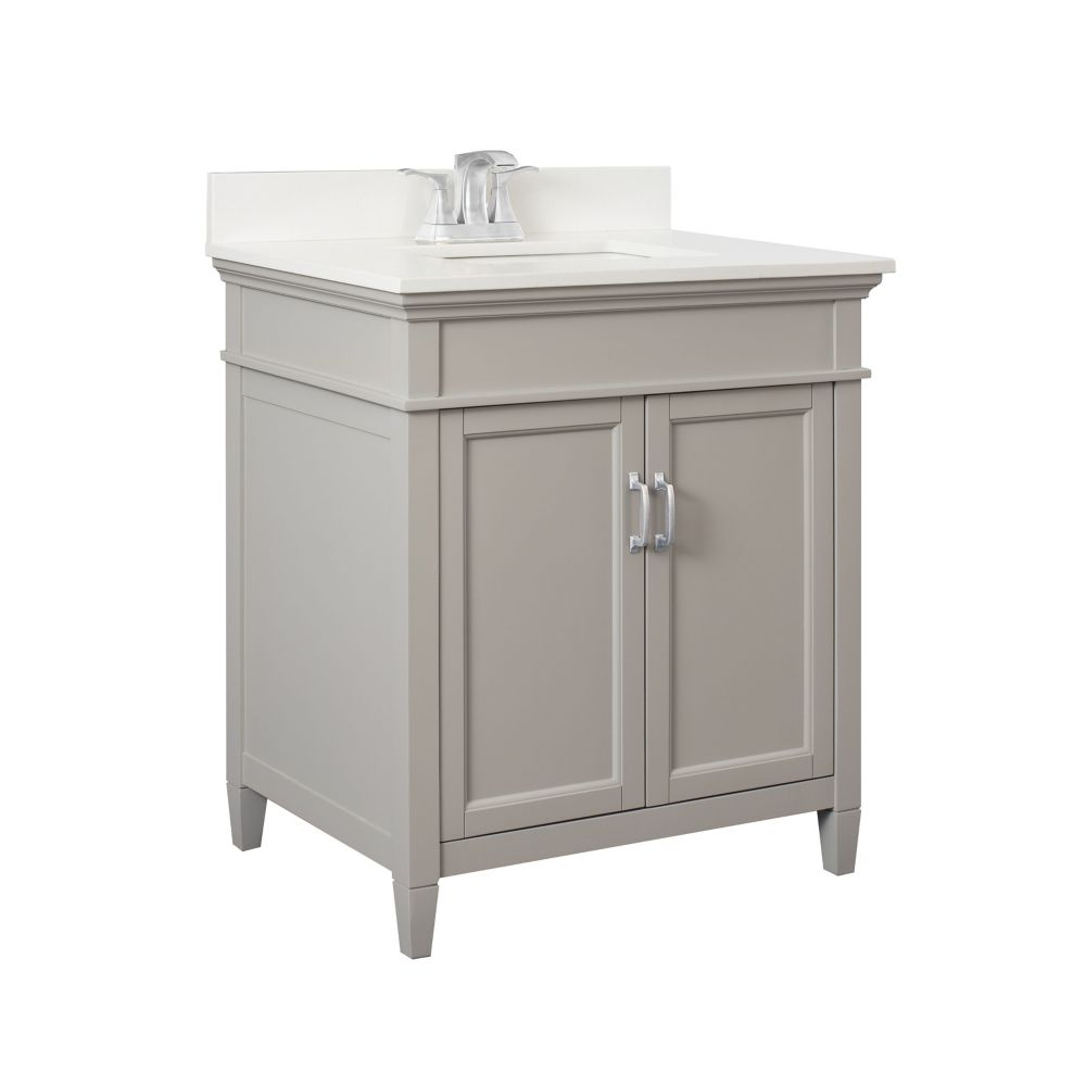 Foremost Ashburn 30 inch Vanity Combo in Grey with Lily White Engineered Stone Top