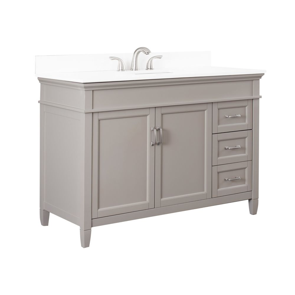 Foremost Ashburn 48 inch Vanity Combo in Grey with Lily White Engineered Stone Top